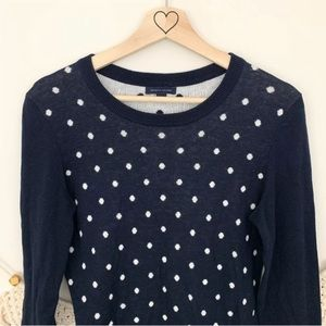 Tommy Hilfiger White Polka Dot Navy Blue Sweater